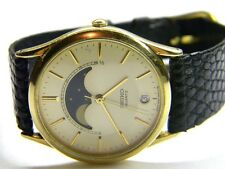 mens Seiko calendar date moonphase gold tone watch model # 7434-7009 parts only