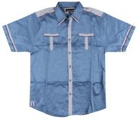 Makobi Blue S/S Satin Button Down Shirt