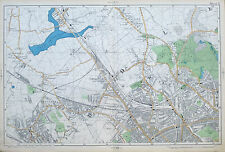 Original Antique Map of LONDON, WILLESDEN, GOLDERS GREEN, HAMPSTEAD  -  1904