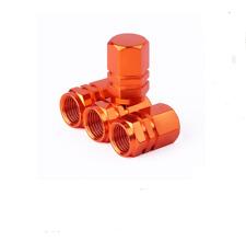 4PCS Orange Anodized Aluminum Tire Valve Stem Cap Fit For Auto-Car-Truck-Bike