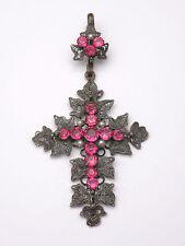 Superbe ancienne grande croix Provençale metal argenté et pierres roses XIXe