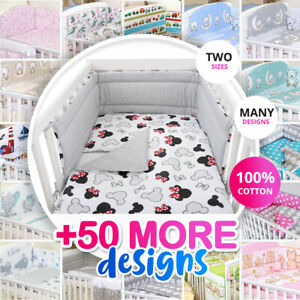 MINNIE - NURSERY- BABY BEDDING SET-BUMPER-PILLOW-QUILT COVERS fit Cot/COT Bed