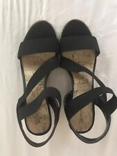 Pre-owned Merona Strappy Stretch Wedge Sandals Espadrille Black  Womens  8