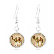 Egyptian Camel glass Frea Earrings Art Photo Tibet silver Earring Jewelry #145