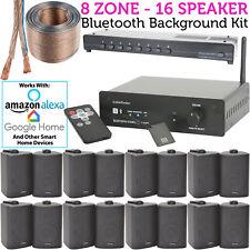 16 Speaker, 8 Zone - Background Music Kit Bluetooth Sound System -Restaurant/Bar