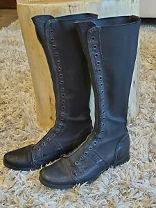 O.X.S Women's Black Leather Pull On Combat Work Boots Rubber 37 US 7 Italy