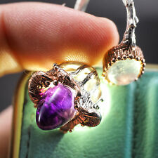 Gorgeous  Natural Deep Purple Amethyst Moonlight Labradorite Sterling Silver Rin