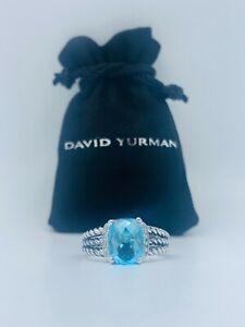 David Yurman Petite Wheaton Ring with Blue Topaz and Diamonds Size 5