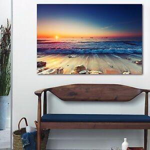 Framed Canvas prints Ocean Sunset sundown Beach view ocean orange wave wall art