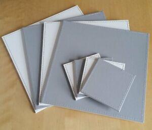 Reversible FAUX LEATHER Placemats & Coasters Set FLIP Mats SQUARE White GREY