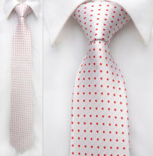 White Red Dot Men Neckwear Handmade 100% Woven Silk 8 cm Wedding Tie