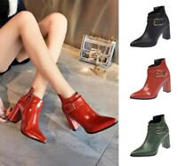 Womens Synthetic Leather Ankle Boots Pointed Toe Block High Heel Buckle Shoes