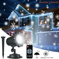 Christmas Snowflake LED Laser Projector Light Snow Outdoor Garden Landscape Lamp