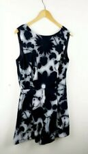 Topshop TALL Womens Black & Grey Floral Playsuit Size 12 Lace V Back Romper