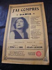 Partition J'ai compris Damia Lenoir 1929 Music Sheet