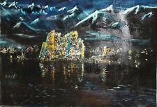 Surrealist landscape oil painting signed