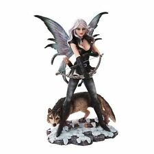 10 Inch Warrior Winged Fairy with Wolf and Bow Statue Figurine