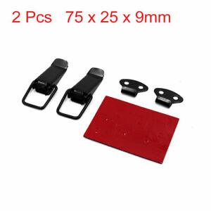 2 Pcs 75 x 25 x 9mm Black Metal Box Toggle Latch Catch Hasp Clamp for Car