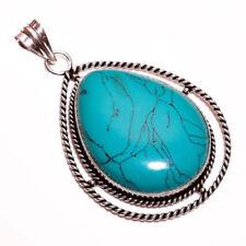Collares y colgantes de joyería con gemas turquesa colgante de plata de ley
