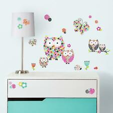Colorful OWLS & BUTTERFLIES WALL DECALS 48 New Girls Bedroom Stickers Kids Decor