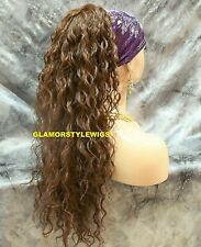 Human Hair Blend Long Curly Chestnut Brown Ponytail Hair Piece Extension #6 NWT