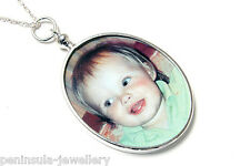 "Sterling Silver Oval Photo frame Double Sided pendant and 18"" chain Gift Boxed"