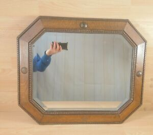 Vintage Beveled Wall Mirror OakOctagon Art Deco Large 62cm x 53cm