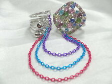 Two Finger Multi Crystal Stretch Ring  & Size 9 Swirl Ring W Heart Dangles