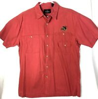 RedHead Mens Button Down Shirt Embroidered Fish Short Sleeve Cotton Fishing EUC
