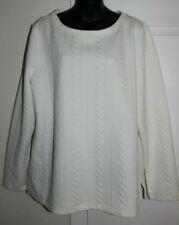 Talbots XL White Textured Long Sleeve Blouse