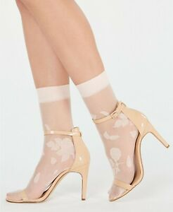 Stamped Floral Anklet Fashion Socks 2 Pack Pale Pink One Size INC $14.99 - NWT