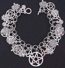 Silver Pentagram Charm Bracelet - Green Man Triquetra Tree of Life Pagan Wicca