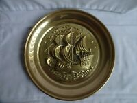 """VINTAGE EMBOSSED BRASS WALL PLATE PLAQUE WITH SAILING SHIP GALLEON CLIPPER 10"""""""
