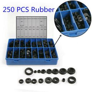 250X Rubber Grommet Firewall Hole Plug Set Electrical Wire Gasket Assortment Kit