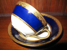 Antique England Crown Cabinet Cup & Saucer Cobalt Blue Raised Gold