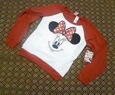 Disney Minnie Mouse Girls Red Polka Dot Minky Sweatshirt Top Size 7/8 Medium NWT