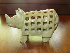 Rhinoceros Stone Carving Marble With Small Baby Rhino Inside. Home office decor