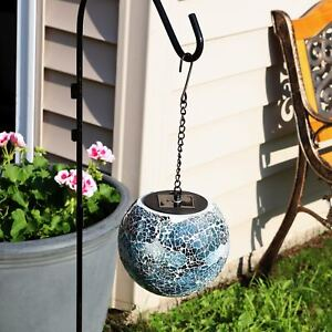 "Sunnydaze Hanging Orb with LED Solar Light Sea Mist Mosaic Garden Decor - 6"""