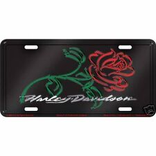 Harley Davidson Motorcycles Rose Metal License Plate Sign Tag