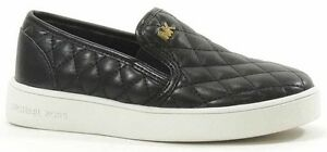 Michael Kors Girls Ivy Sage Quilted Fashion Sneaker Black Brand New With Box