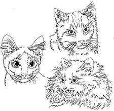 Mounted Rubber Stamps, Cat Stamps, Pets, Feline, Cats Stamps, 3 Cute Kitties