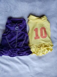 girl dog clothes pair small dresses