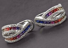 925 Sterling Silver Omega Studs Art Deco MultiColor Rainbow Sapphire Earrings