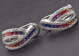 925 Sterling Silver Omega Studs Art Deco MultiColor Rainbow Sapphire Earrings