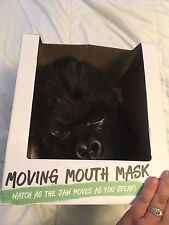 NEW NIB  Mouth Moving Gorilla Mask Furry Plush Costume COSPLAY Full Head Adult