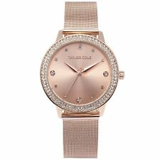 Taylor Cole TC071 Ladies Quartz Rose Gold Milanese Stainless Steel Band 39mm XL
