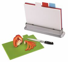COLOUR CODED INDEX 8mm CHOPPING BOARD SET 4 CUTTING BOARDS + STAND KITCHEN STARS
