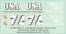 Marshall Sargent - Bruce's Tires - Schaller CAMS - 1/24 - Super Modified Decals