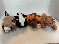 🦊🦨 Lot of 4 Woodland Ty Beanie Babies Ringo Stinky Chocolate Sly Retired NEW