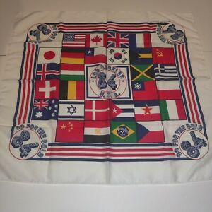1984 Go For the Gold L.A. Olympics Multi Flag Color Handkerchief Bandana Scarf
